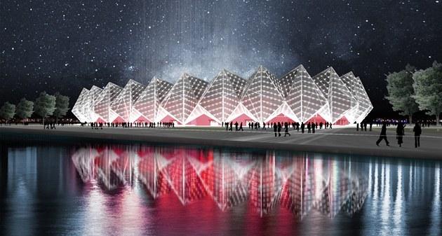 Krystalový palác v Baku, d�ji�t� finále Eurovize 2012 na vizualizaci...