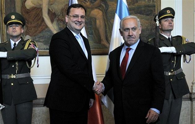 Premiér Petr Ne�as uvítal v Praze izraelského premiéra Benjamina Netanjahua