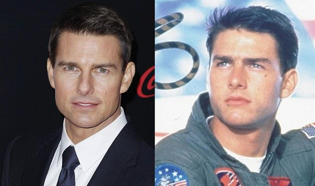Tom Cruise v roce 2011 a ve filmu Top Gun (1986)