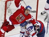 Český hokejista Petr Koukal (v červeném) se skácel přes Slováka Marka Hovorku v semifinálovém zápase mistrovství světa v Helsinkách.