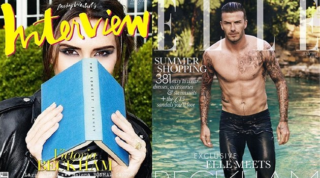 Victoria a David Beckhamovi na ob&#225;lk&#225;ch magaz&#237;n Interview a Elle (l&#233;to 2012)