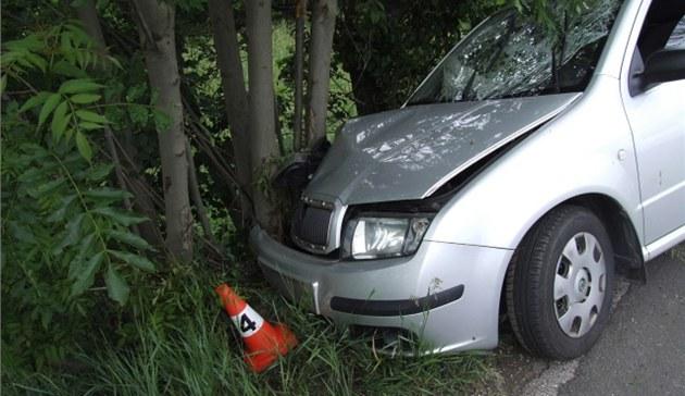 Nehoda opilého �idi�e se �kodou Fabia u Vrchlabí