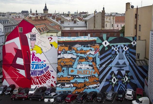 Přemalovaná zeď na Národní třídě v Praze
