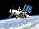 Miniraketopl�n X-37B na ob�n� dr�ze v p�edstav�ch grafika. V�imn�te si sol�rn�ch panel�, kter� stroj pou��v� k v�rob� elektrick� energie.