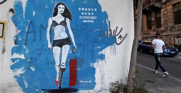 P�í�tí ekonomický model �ecka. Graffiti v centru Atén.