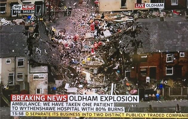 Výbuch plynu v britském Manchesteru, p�i kterém zem�elo jedno dít�