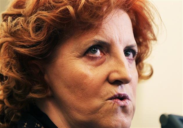 Vlasta Parkanová ve Sn�movn� p�ed jednáním mandátového a imunitního výboru,