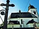 Kostel Nanebevzet� Panny Marie v ��ho�ti, kde se v roce 1949 p�i promluv� far��e Josefa Toufara pohyboval k��ek.