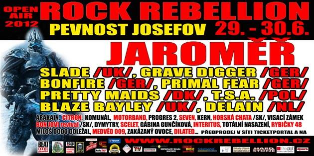 Plakát, který lákal na festival Rockrebellion.