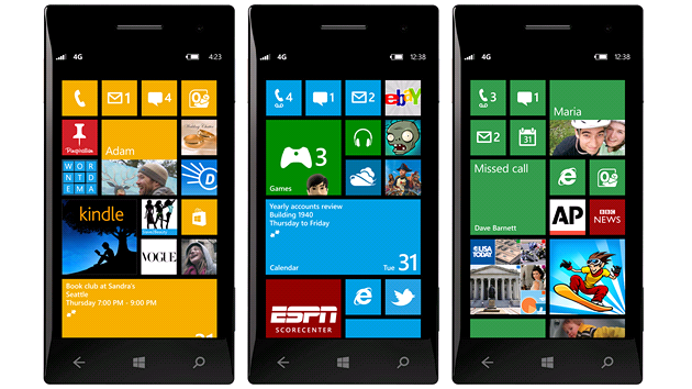 Hlavn&#237; obrazovka Windows Phone 8 s troj&#237; velikost&#237; dladic
