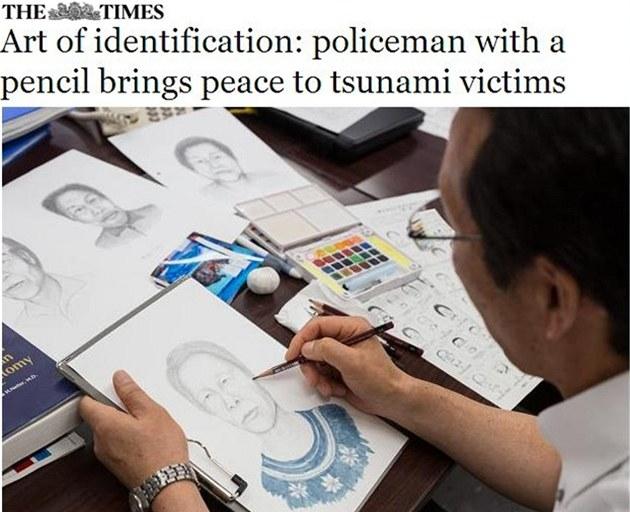 Policista �uj�i Abe kreslí na základ� fotografií t�l podobizny ob�tí lo�ského