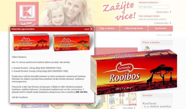Kaufland stahuje z prodeje �aje Rooibos, které obsahovaly salmonelu.