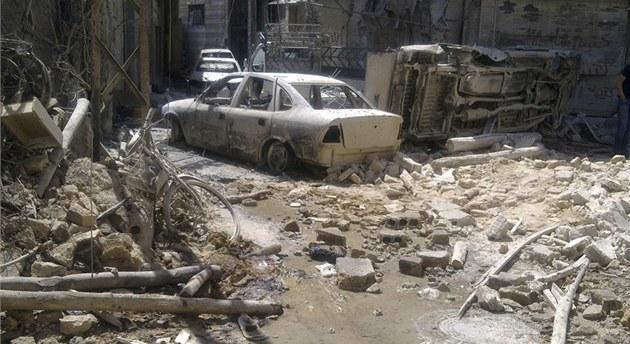Pohled do jedné z ulic dama�ské �tvrti Midán, o kterou se v posledních dnech
