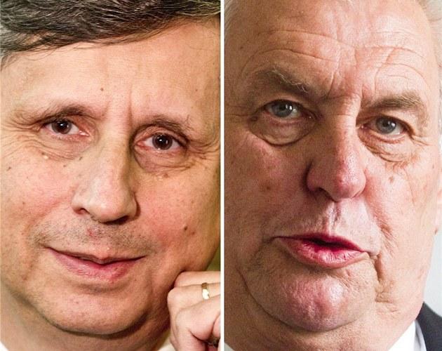 Favorizovaní kandidáti na Hrad Jan Fischer a Milo� Zeman
