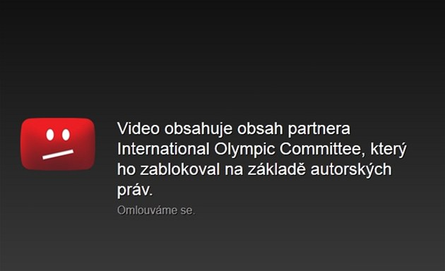 YouTube blokuje video z LOH 2012