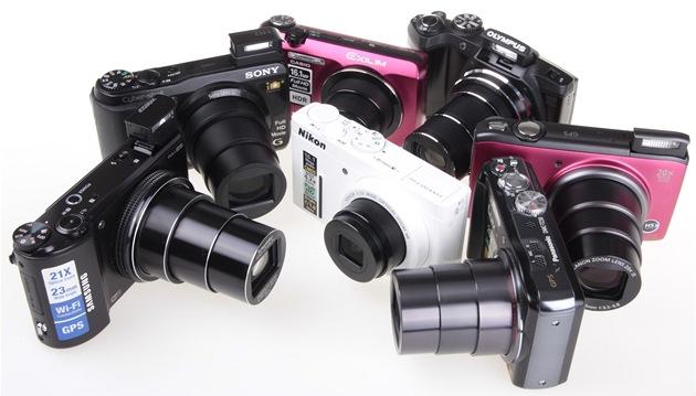 Test fotoaparát�: Canon, Casio, Nikon, Olympus, Panasonic, Samsung, Sony