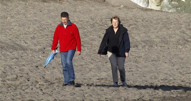 Angela Merkelová a její man�el Joachim Sauer na dovolené ve �pan�lsku na