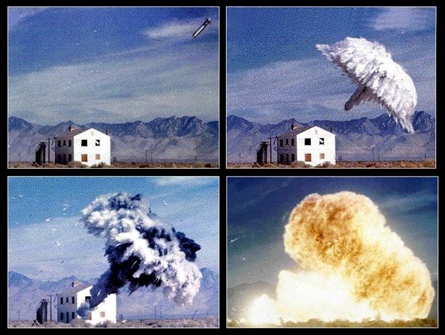 Exploze bomby FAE (Fuel/Air Explosive), která funguje podobně jako termobarické