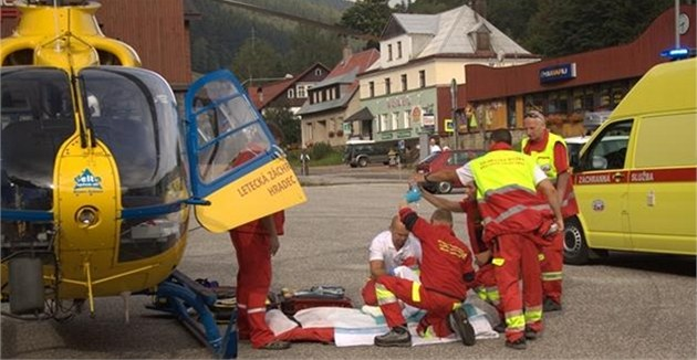 Spolupráce letecké a pozemní záchranné slu�by ve Velké Úp� (17. 8. 2012)