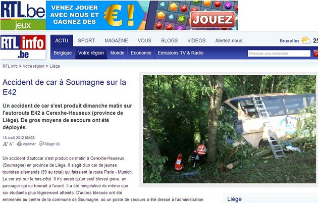 Stránka belgického webu www.rtl.be informuje o nehod� autobusu.
