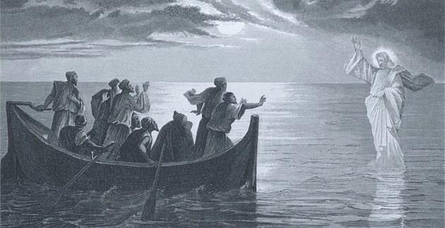 Je�í� Kristus krá�í po hladin� Galilejského jezera. Americká ilustrace z 19.