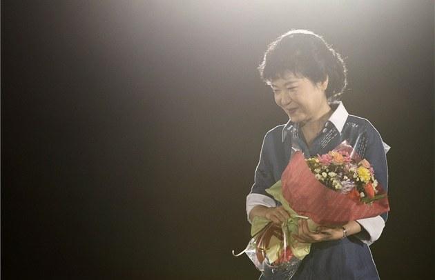 Pak Kun-hje po vít�zství ve stranických primárkách (20. srpna 2012)