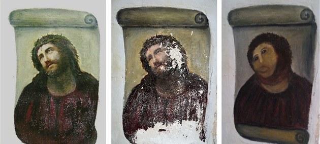 Freska Je�í�e Krista z kostela ve �pan�lském m�sta Borja - zleva v roce 2010,