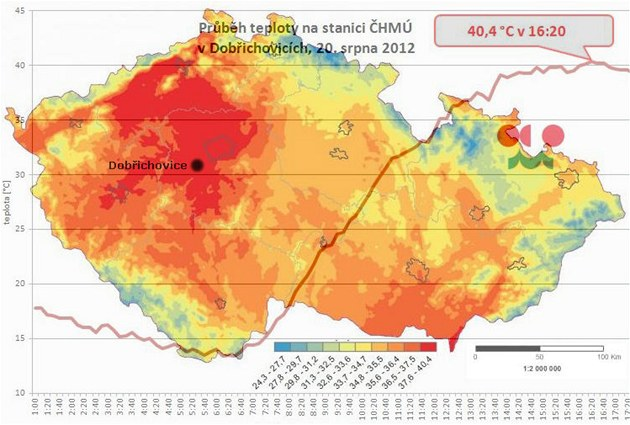 Teplotní mapa spojená s grafem z Dob�ichovic ve St�edo�eském kraji, kde v