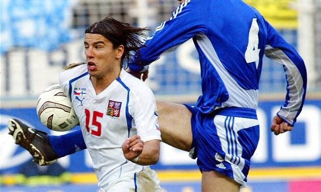 Milan Baro� p�i kvalifika�ním utkání na MS proti Finsku (26. b�ezna 2005)