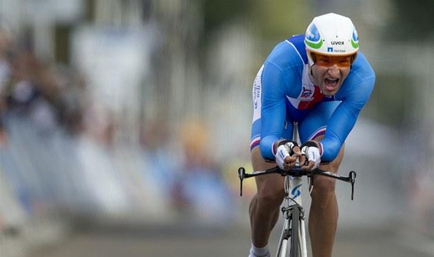�ASOVKÁ�SKÉ PEKLO. �eský cyklista Jan Bárta na mistrovství sv�ta v Nizozemsku.