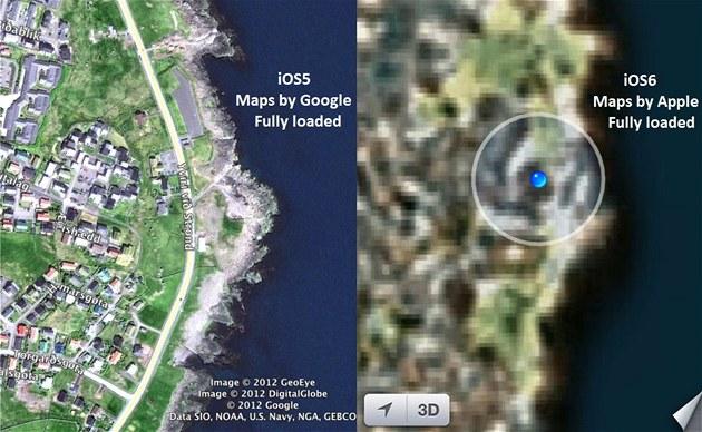 Porovnání mapových aplikací od Google (iOS5) a Apple (iOS6)