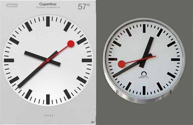 Porovnání hodin na iPadu s iOS 6 a nádra�ních hodin, pat�ících �výcarské...
