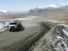 Okolí zlatého lomu Kumtor v Kyrgyzstánu