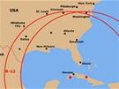 Nákres skutečně ohroženého území USA sovětskými raketami R-12 ke dni 29. října 1962. Dvojnásobný dostřel nerozmístěných raket R-14 není zakreslen.