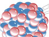 Atomové jádro rozpadající se alfa rozpadem (tedy za vzniku záření alfa). Tímto způsobem se japonským fyzikům rozpadlo jádro prvku 113.