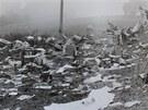 Trosky letadla DC-9 po nehodě na Suchdole.