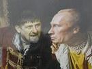 Pochod nacionalistů nešetřil ani Vladimira Putina. Na jednom z transparentů ho vyobrazili jako Lžidimitrije I., chudého šlechtice, kterého na ruský trůn dosadil polský král. Na koláži mu čečenský prezident Ramzan Kadyrov radí, aby před zlobou bojarů prchl oknem. (4. listopadu 2012)