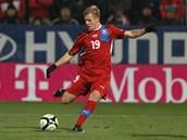 UŽITEČNÝ NÁHRADNÍK. Matěj Vydra vlétl do zápasu se Slovenskem až po hodině hry, byl ale hodně aktivní a stihl přihrát na gól Bořku Dočkalovi.