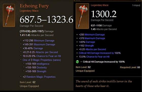 Legendární palcát Echoing Fury. Vpravo je téměř perfektní verze, se kterou se obchodovalo.