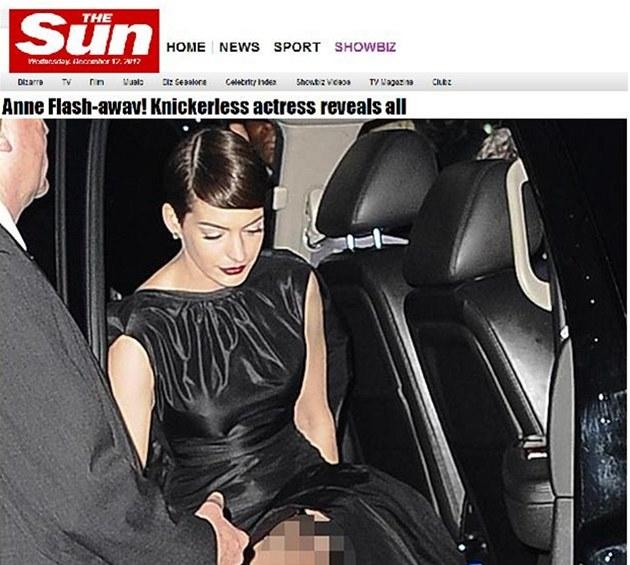 Anne Hathawayová p�i vystupování z auta ukázala víc ne� cht�la.