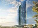 Vizualizace budouc� podoby nov� v�kov� budovy, kter� m� vyr�st v are�lu nov� vznikaj�c� olomouck� �tvrt� �antovka. Na v�ku m� m��it 75 metr�.