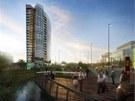 Vizualizace budoucí podoby nové výškové budovy, která má vyrůst v areálu nově vznikající olomoucké čtvrtě Šantovka. Na výšku má měřit 75 metrů.