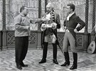 Z natáčení filmu Karla Zemana Baron Prášil (zleva Karel Zeman, Miloš Kopecký, Rudolf Jelínek)
