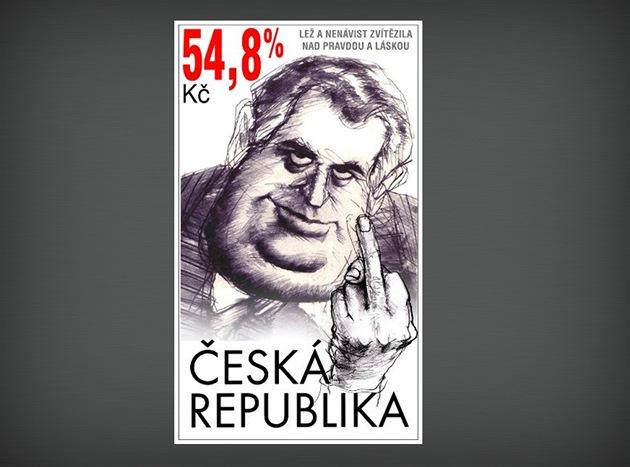 """Návrh nové """"prezidentské"""" známky v podání výtvarníka Zdeňka Netopila."""