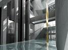 Interiér nové budovy Line na Vítězném náměstí v Praze. Vizualizace