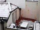 Hotel v Karlov� ulici v centru Prahy utrp�l zejm�na zven��. Vaj��kov� bitka po�kodila fas�dy.