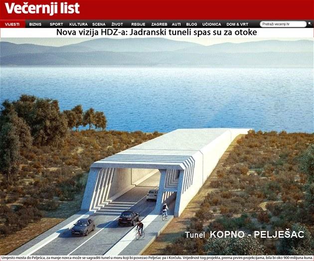 Kromě vozovek pro automobily by v chorvatských podmořských tunelech měly být i