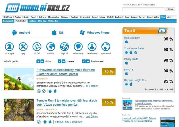 Titulní stránka serveru Mobilnihry.cz