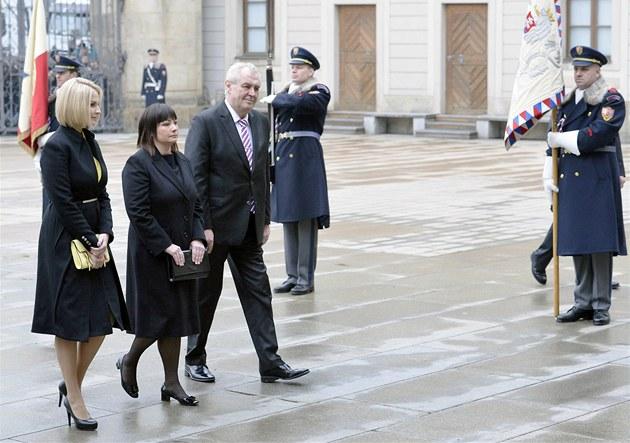 Prezident Milo� Zeman s rodinou na Pra�ském hrad�