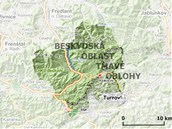 Mapka s Beskydskou oblastí tmavé oblohy na česko-slovenském pomezí.